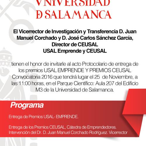 PREMIOS 2016 CEUSAL, Cátedra Emprendedora, Universidad de Salamanca, España